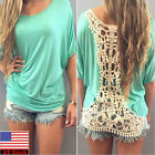 Summer Women Hollow Lace Patchwork Loose Short Sleeve Blouse Casual T-Shirt Tops