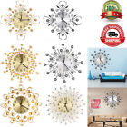Modern Metal Wall Clock Flower Diamond Crystal Large Silent Home Office Decor