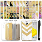 "For HTC Bolt / 10 Evo 5.5"" Sprint Sparkling Gold TPU Case Cover Protective + Pen"