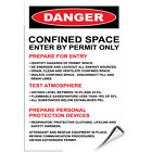 Confined Space Enter Authorized Permit Only Hazard Sign LABEL DECAL STICKER
