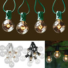 Outdoor Clear String Globe Lights, 25 ft, Black/Green/White Wire, G40 Bulb