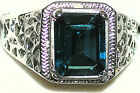 Men's Genuine London Blue Topaz Stainless Steel Ring ** Hypoallergenic ** 31514