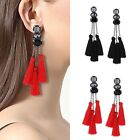 Vintage Women Crystal Long Tassel Dangle Earrings for Women Thread Fringe Drop