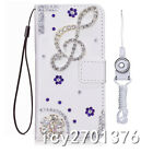 PU Leather Flip Bling Diamond Wallet Girl Case Cover For Samsung Phone & strap