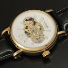 Fashion Automatic Leather Strap Skeleton Mechanical Wrist Watch Men Male Relojes