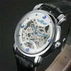 Mens Automatic Mechanical Wrist Watch Blue Dots Recorder New Leather Band Sports