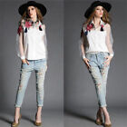 Women Embroidery Floral Long Sleeve  Organza Shirt Fashion Party Blouse O6188