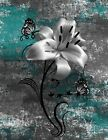 Teal Gray Modern Floral Bathroom Bedroom Home Decor Wall Art Matted Picture