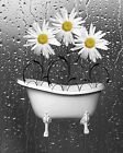 Yellow Gray Daisy Flowers In Bathtub Bubbles Bathroom Wall Art Decor Picture