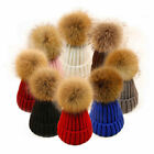 Faux Fur Pom Knitted Beanie Hat Winter Warm Caps Wooly Unisex Mens Ladies Ski ++