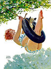Pin Up Girl Hilda Tire Swing Quilt Block Multi Szs FrEE ShiP WoRld WiDE (BryersD