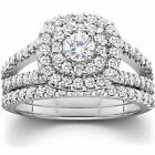 1 1/10ct Cushion Halo Solitaire Diamond Engagement Wedding Ring Set White Gold