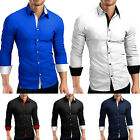 Summer Mens Tops Casual Slim Fit Shirts Lapel Blouse Luxury Stylish Washed Shirt