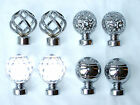 35mm Polished Chrome Metal Curtain Pole Finials Twisted Cage Circle Crystal Ball