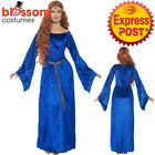 CA357 Blue Medieval Queen Game Of Thrones Renaissance Maid Marion Tudor Costume