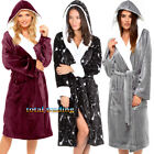 Ladies Womens Hooded Coral Fleece Bath Robe Dressing Gown Wrap Housecoat Warm