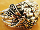 Bali Unique Carving Dragonfly Bamboo Sterling Silver 925 Ring M504 18K Gold Wing