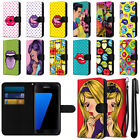 For Samsung Galaxy S7 Edge G935 Pop Art Design Canvas Wallet Case Cover + Pen