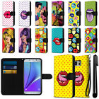 For Samsung Galaxy Note 5 Pop Art Design Canvas Wallet Pouch Case Cover + Pen