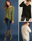UMGEE Women's Cozy Warm Knit Long Sleeve Asymmetic V-Neck Loose Casual Sweater