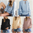 Women Ladies Summer Long Sleeve Casual Blouse Loose Cotton Tops T-Shirt 4 COLORS