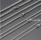 """Wholesale In Bulk Lots Silver Stainless Steel Charm Box Chain Necklace 18""""-30"""""""