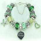 Personalised Gifts Women Girls Jewellery ENGRAVED Bracelet Green Beads Boxed