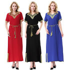 Women Short Sleeve Maxi Dress Muslim Ladies Long Robe Cocktail Party Kaftan Gown