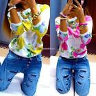 Women Fashion Casual Long Sleeve Floral Print Sweats Pullover Sweatshirt N98B