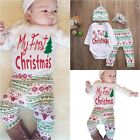4PCS Cute Newborn Baby Boy First Christmas Clothes Romper Pants Hat Outfit Set