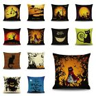 Halloween Pumpkin Cat Linen Throw Pillow Case Cushion Cover Home Sofa Decor Gift