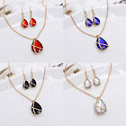 Women Crystal Cross Hollow Chain Necklace Hook Earrings Jewelry Sets