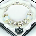 ENGRAVED Jewellery Charm Bracelet Clear Beads ANY MESSAGE Personalised Gifts