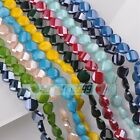 10pcs 14mm Twist Coin Faceted Glass Porcelain Color Loose Charms Spacer Beads