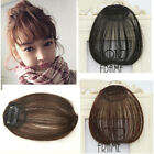Women Black Brown Clips in Front Closure Real Human Hair Bangs Extensions Fringe