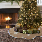 1X Burlap Snowflak Merry Christmas Tree Skirt 48/30inch Diameter New Year Supply