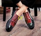 Mens Slip On Tassel Patent Leather Lace Up Brogue Carved Dress Formal Shoes Size