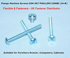 M4 & M5 TRUSS FLANGE HEAD MACHINE PAN HEAD SCREWS BZP PHILLIPS COMBI DIN 967
