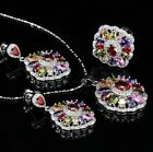 New Fashion 925 Silver Ring Necklace Earring Set Cut Oval Flower Topaz Gemstone