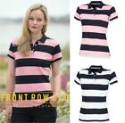 Front Row Ladies Women Short Sleeve Striped Polo Shirt - Slim Fit - Full Stripes