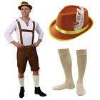 MENS OKTOBERFEST COSTUME GERMAN BAVARIAN BEER GUY BROWN LEDERHOSEN FANCY DRESS