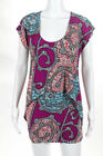 T Bags Los Angeles Multi Color Abstract Print Short Sleeves Dress Size Small