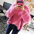Women's Warm Outwear Faux Fur Jacket Coat Round Neck Loose Pullover Sweaters new