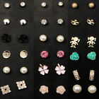 Lots 6Pair Fashion Jewelry Crystal Rhinestone Flower Pearl Ear Stud Earrings Set