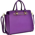 Dasein Faux Saffiano Leather Winged Satchel with Gym Bag NEW