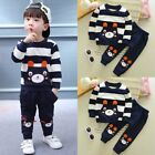 2pcs Toddler Baby Girl Boy Carton T-shirts Top Pants Outfits Clothing Set Navy