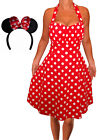 LRD@ Funfash Plus Size Halloween Costume Red White Dots Dress Minnie Mouse Ears