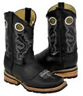 Boy's Kids Black Grain Leather Work Style Leather Cowboy Boots Square Toe