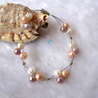 """20"""" 7.5"""" 6-8mm 3Row Freshwater Pearl Wire Bracelet Necklace AC——MORE COLORS"""