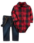 Carters NB 3 6 9 12 18 24 Months Red Bodysuit Jeans Set Baby Boy Clothes Holiday